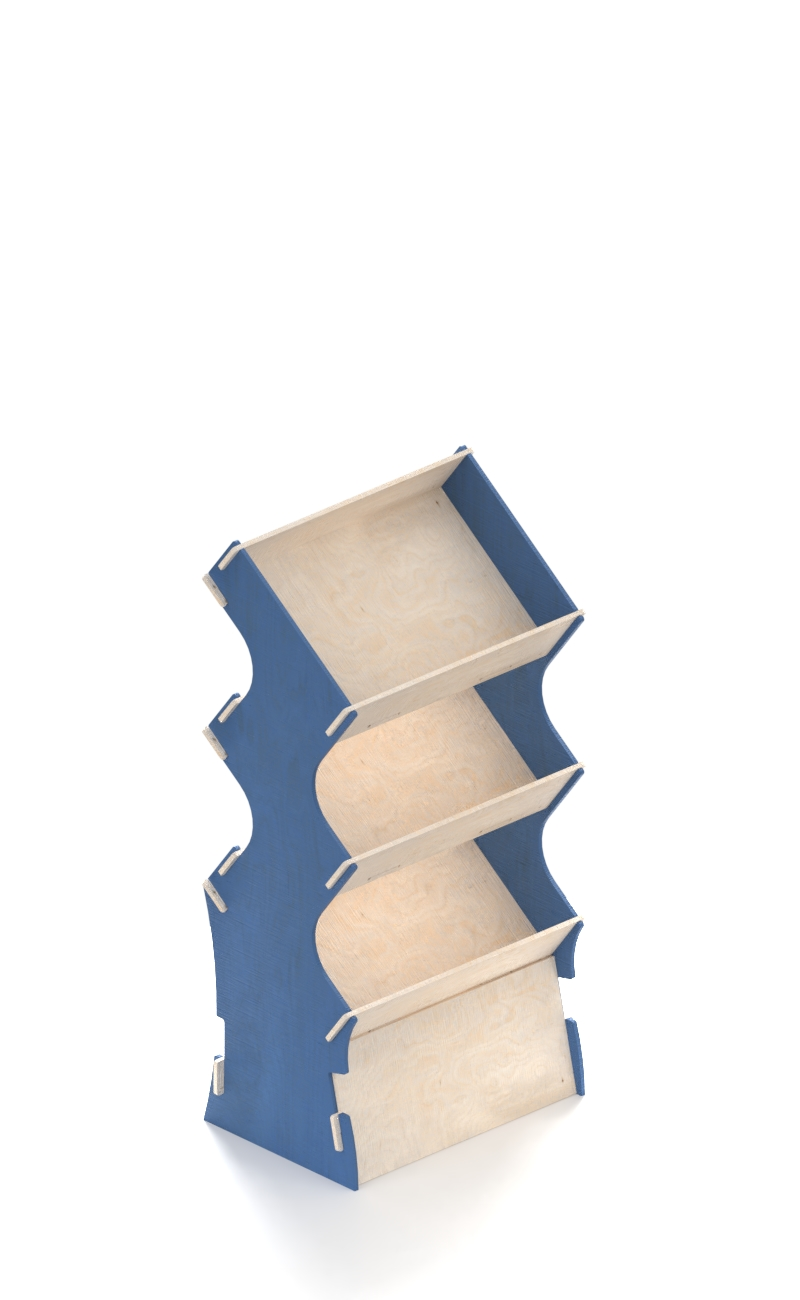 scaffale in legno con laterali blu