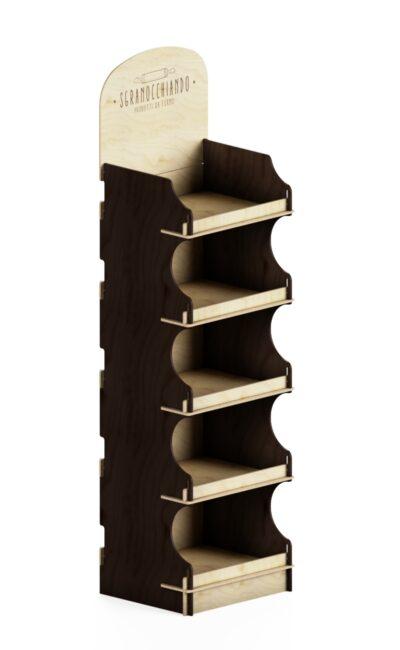 Scaffale promozionale personalizzato con laterali marroni e top stampato
