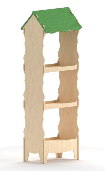 Scaffale a forma di casa in legno