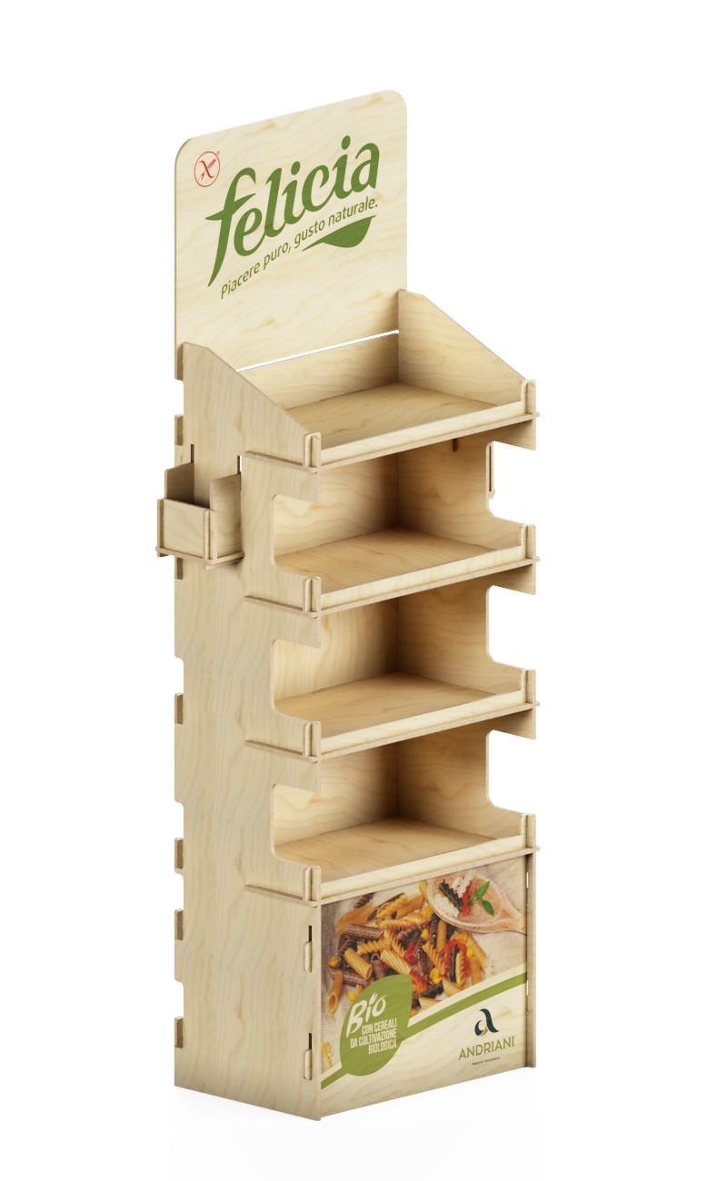 Scaffale ad incastro con porta brochure in legno.