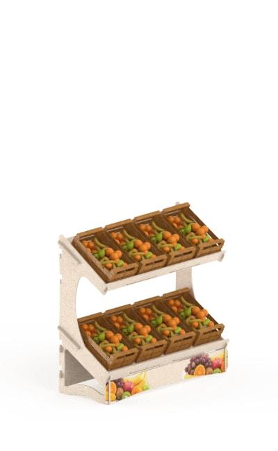 espositore da terra ad incastro eurosud srl cataldi legno betulla con appendini per cesti frutta