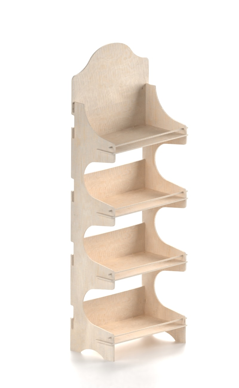 wooden interlocking stand with four shelves