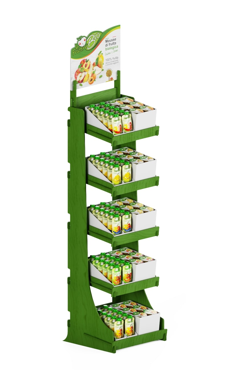 Promotional stand display in green color and white top printed