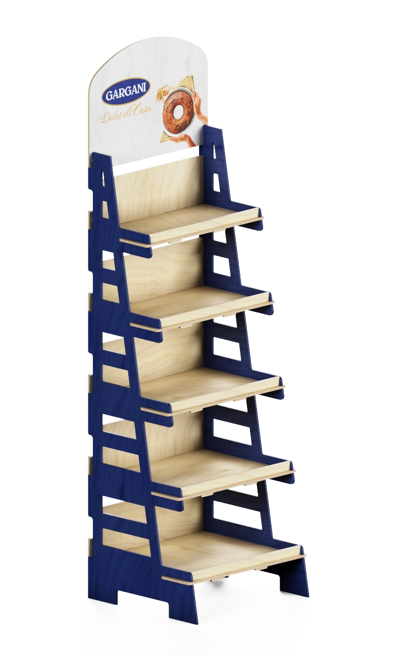 e216 - wood display stand with blu colored sides and scaled shelves