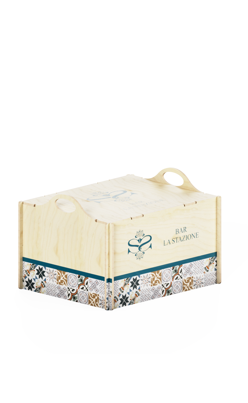 Wooden box with protruding handles and personalized printing