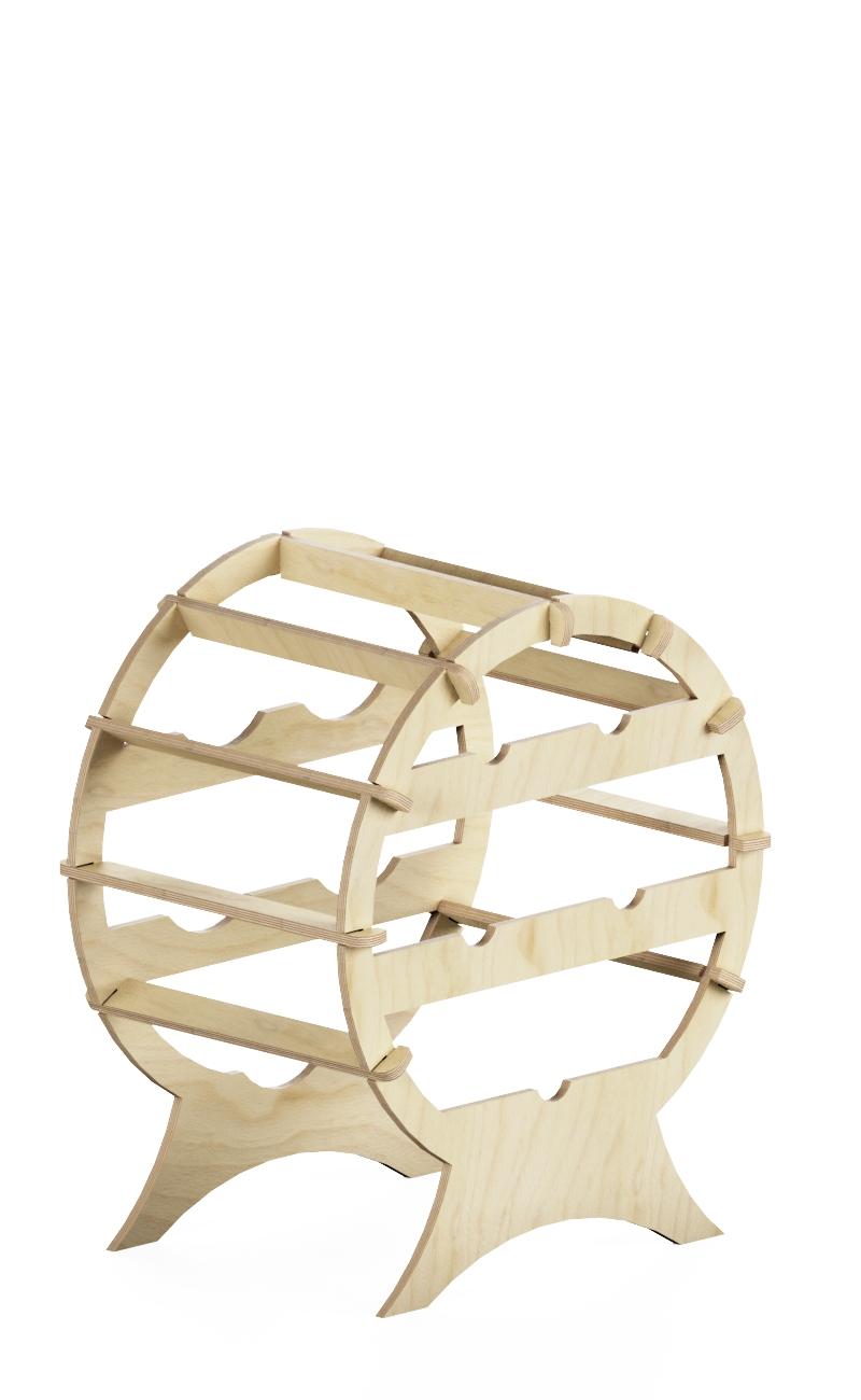 circular wine rack in natural wood