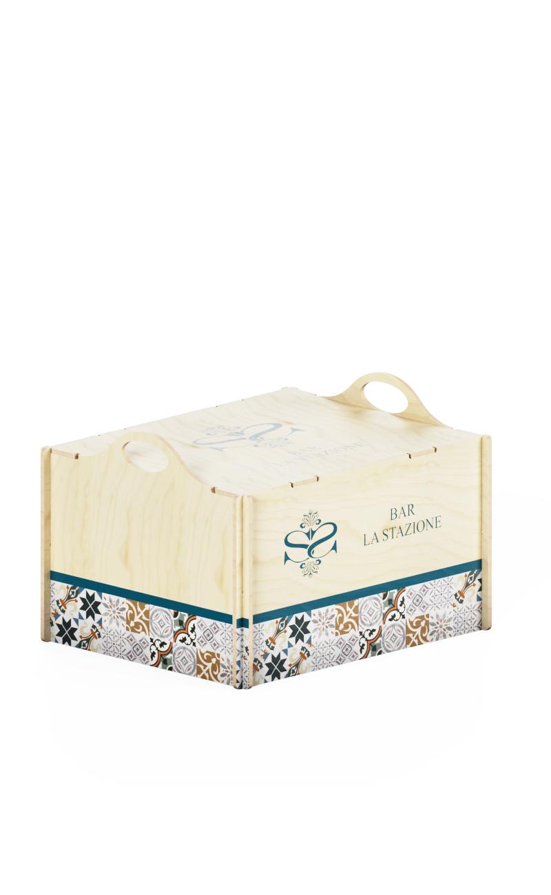Box in legno con manici sporgenti e stampa personalizzata