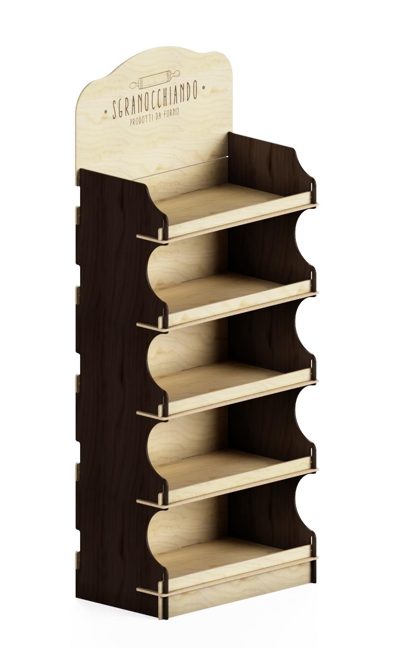 wooden interlocking stand displaay with custom brown sides