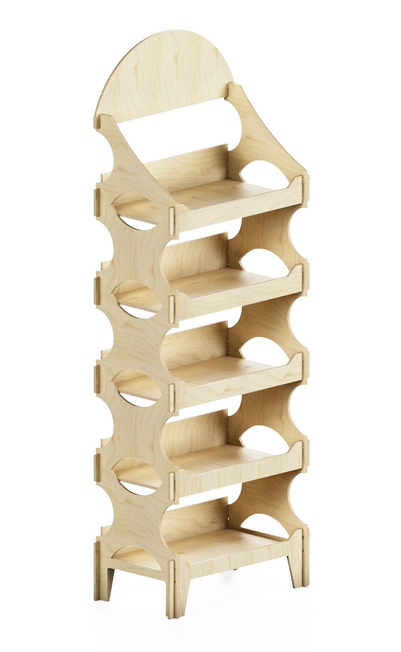 wooden exhibitor with modular shelves
