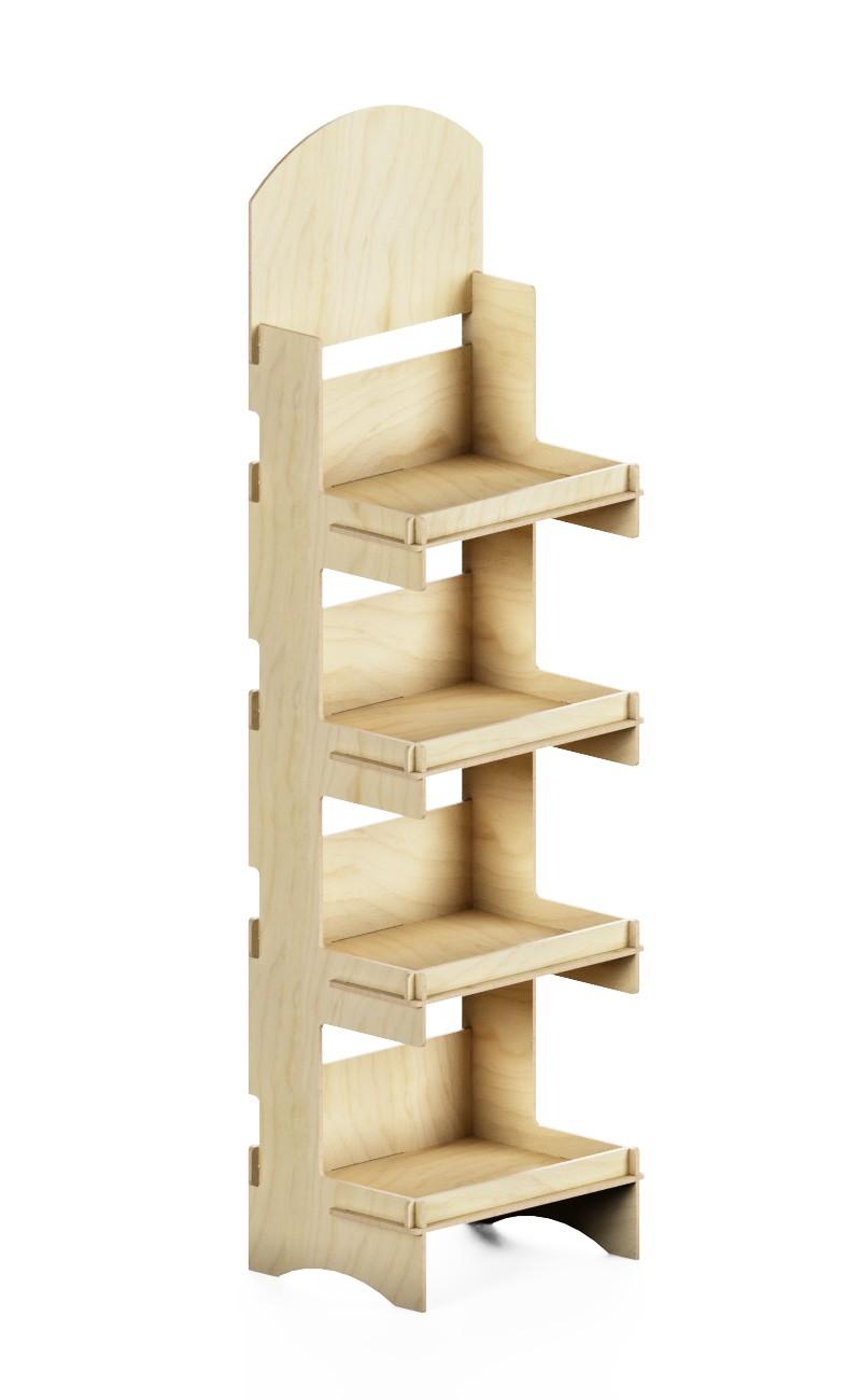 e170 - scaffale promozionale in legno ad incastro