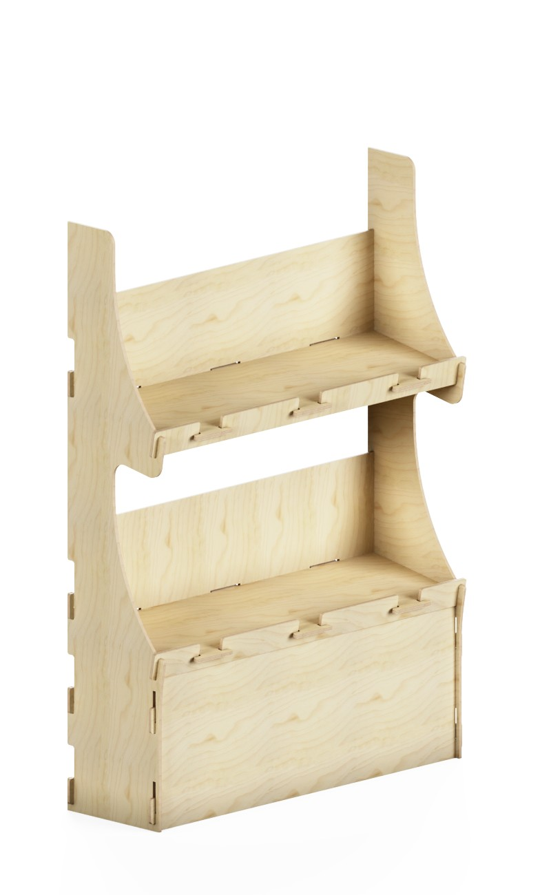 e175 - large shelf for heavy products with two shelves and front space