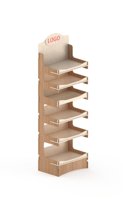 wood stand display at interlocking system