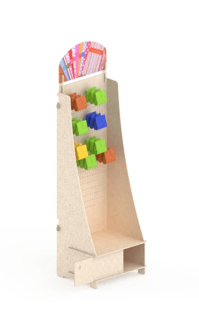 wooden floor display stand - interlocking stand in birch hangs and uv print
