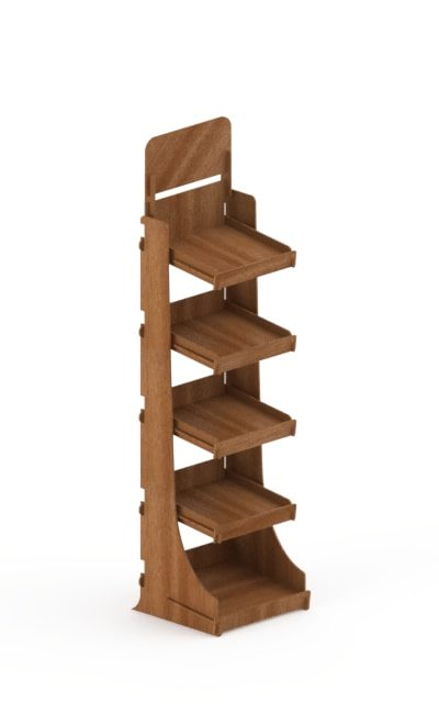 wooden floor display stand - interlocking stand in birch with fling shelves