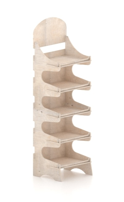 espositori in legno ad incastro - wooden interlocking display stand - wood displays - cantinetta in legno ad incastro