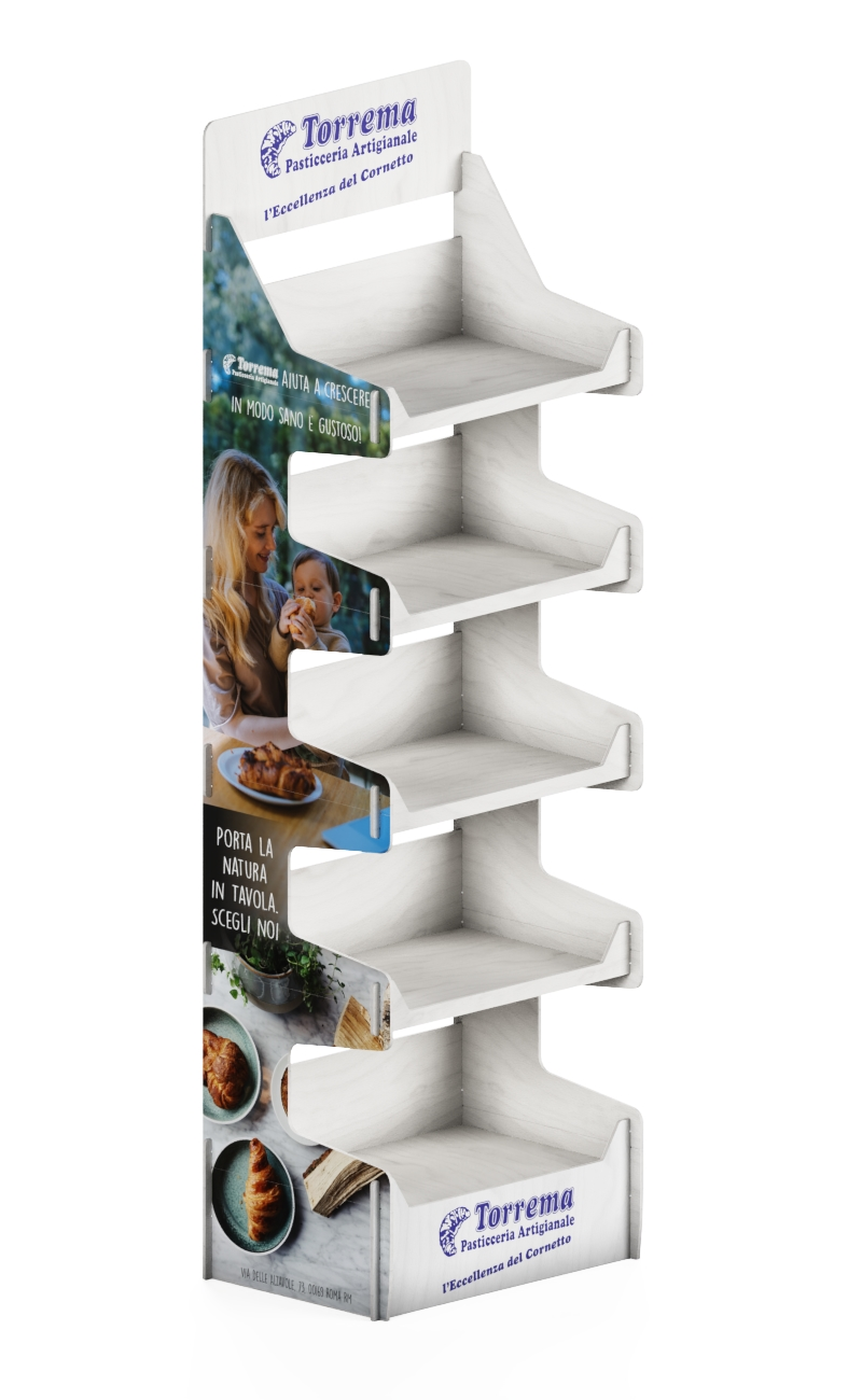 "e213 - wooden shelf display styled ""Dolciaria Torrema"""