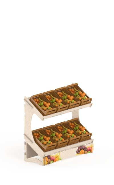 wooden floor display stand - wooden interlocking display stand in birch for basket fruits
