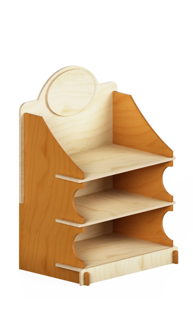 eb86 - interlocking counter display with three shelves with brown sides and portholes