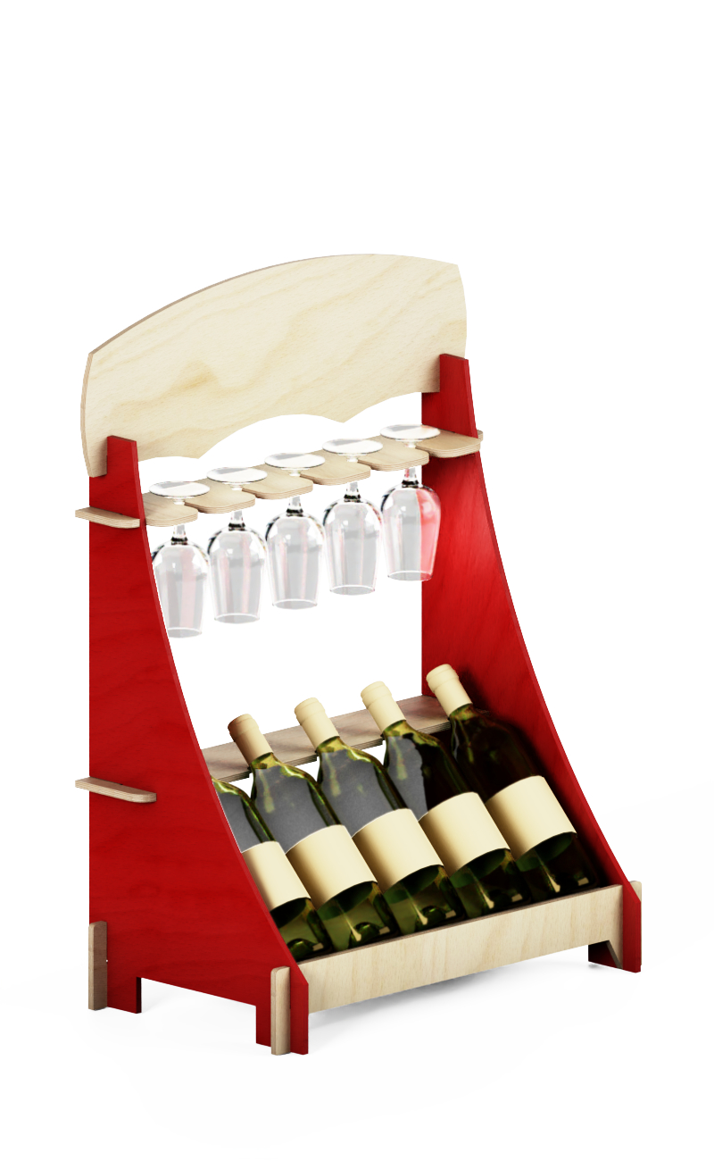EB92 - counter winde rack for bottles and wineglass
