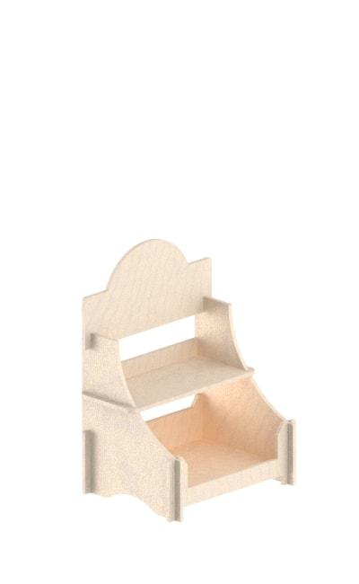 espositore in legno da banco ad incastro a due ripiani
