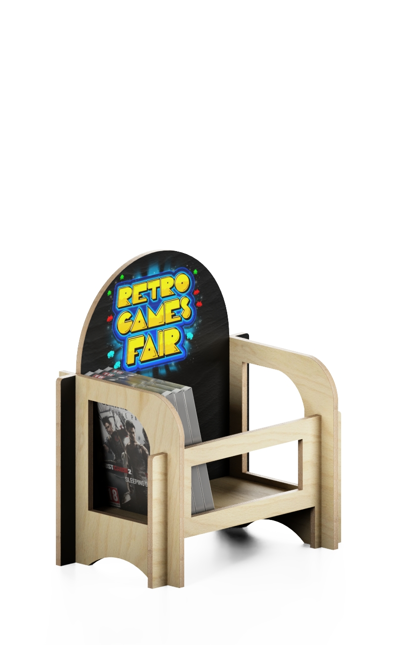 eb97 - wooden interlocking counter display for books and CD