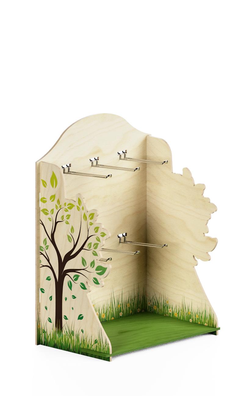 espositore da banco con laterali ad albero e ganci per bustine