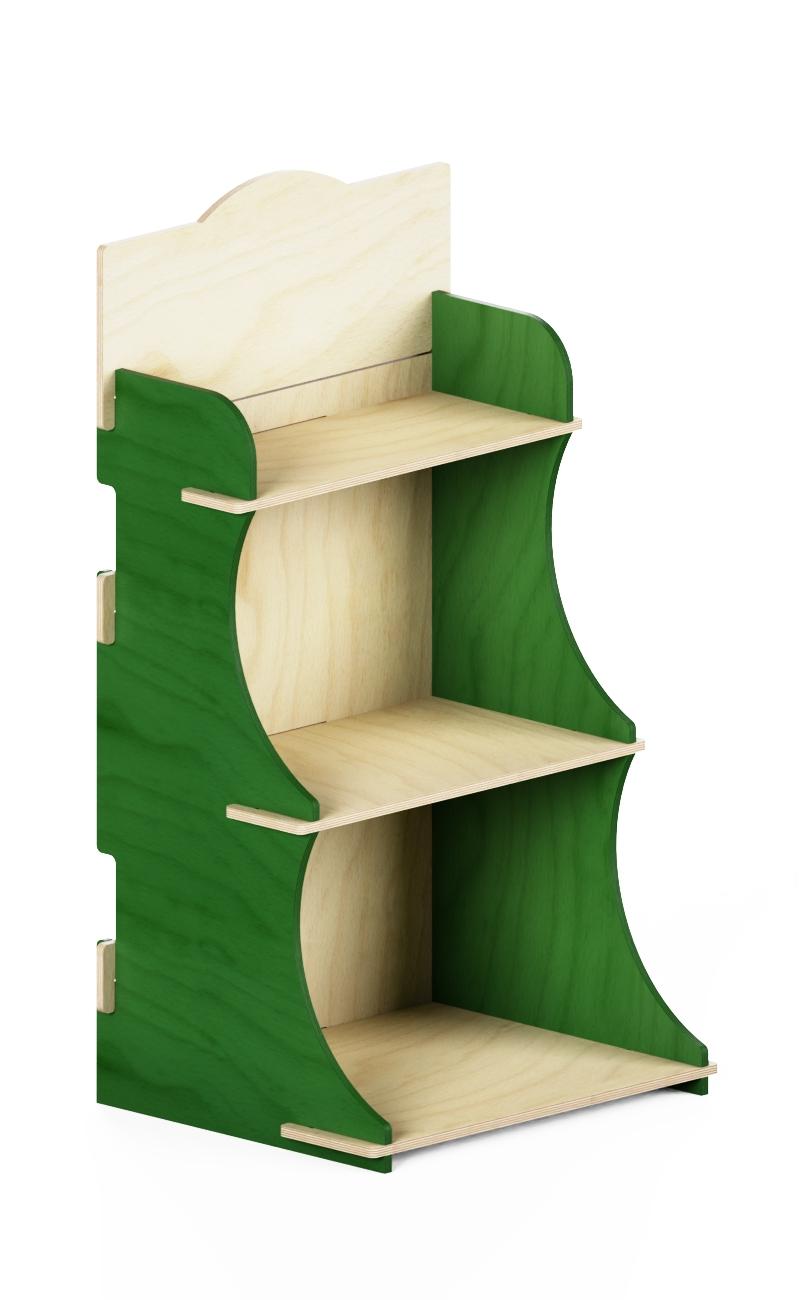 eb90 - espositore promozionale in legno con laterali verdi e legno certificato FSC