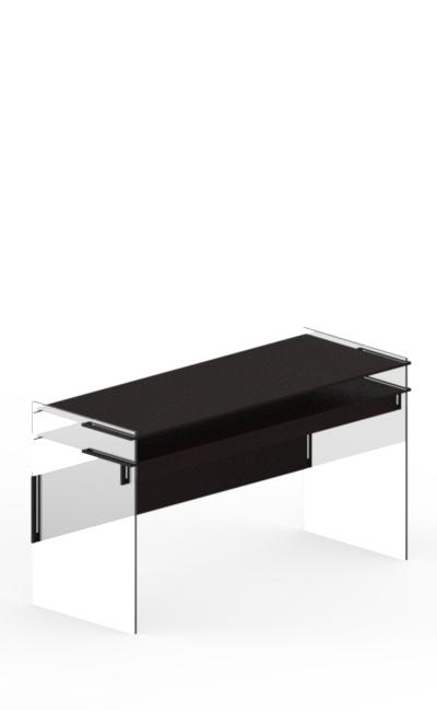 tavolo con due ripiani in legno ad incastro e laterali in plexiglass