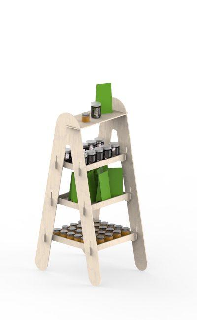 espositore in legno con scaffali a scala ad incastro