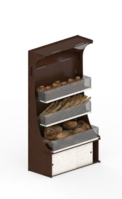 cesto porta pane in betulla ad incastro con ripiani in plex