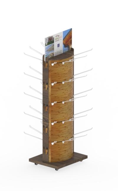 espositore in legno ad incastro con facciata piegata. Scaffali ad incastro
