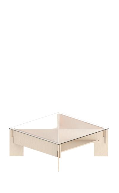 tavolo da salotto basso ad incastro in legno di betulla e ripiano in plex o vetro