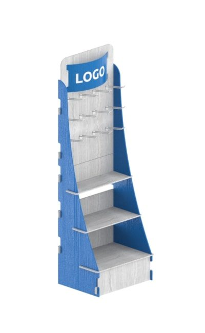Interlocking floor stand blue and white