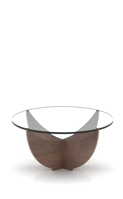 Tavolino da salotto ad incastro legno e plex