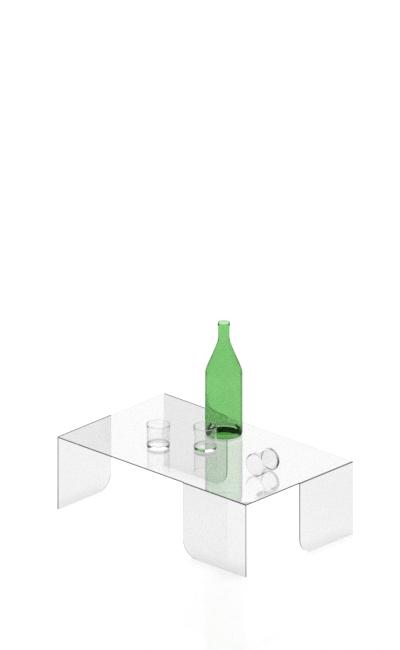 tavolo per esposizione in plexiglas trasparente lucido con angoli piegati