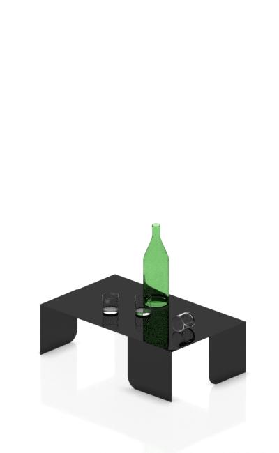 tavolo per esposizione in plexiglas nero lucido con angoli piegati