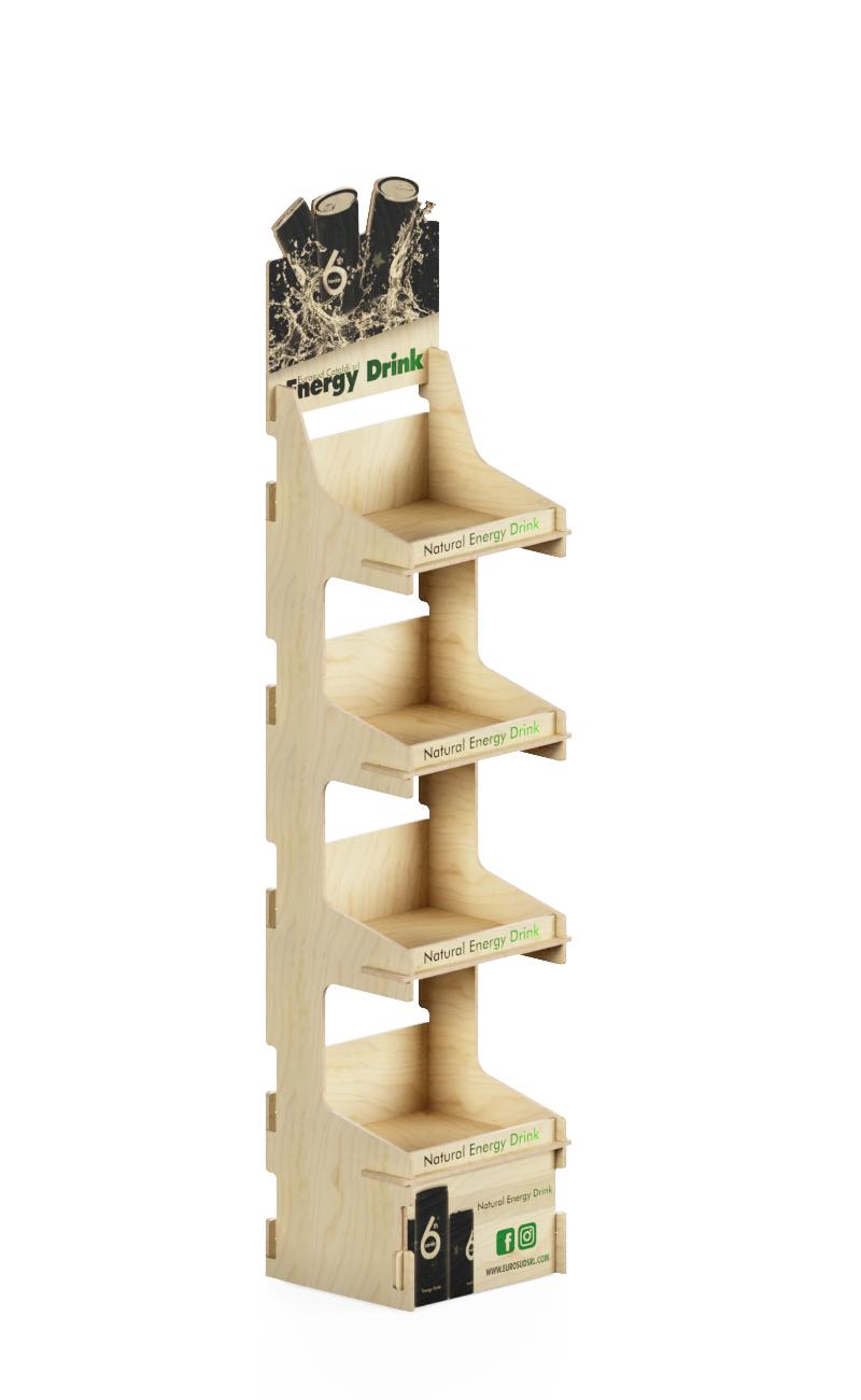 scaffalatura in legno naturale con stampa frontale e crowner sagomato