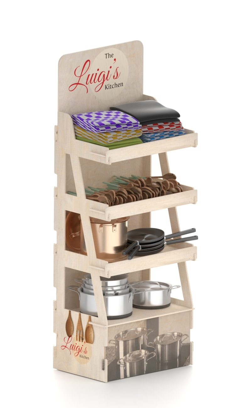 tailored stand display in wood with promotional space