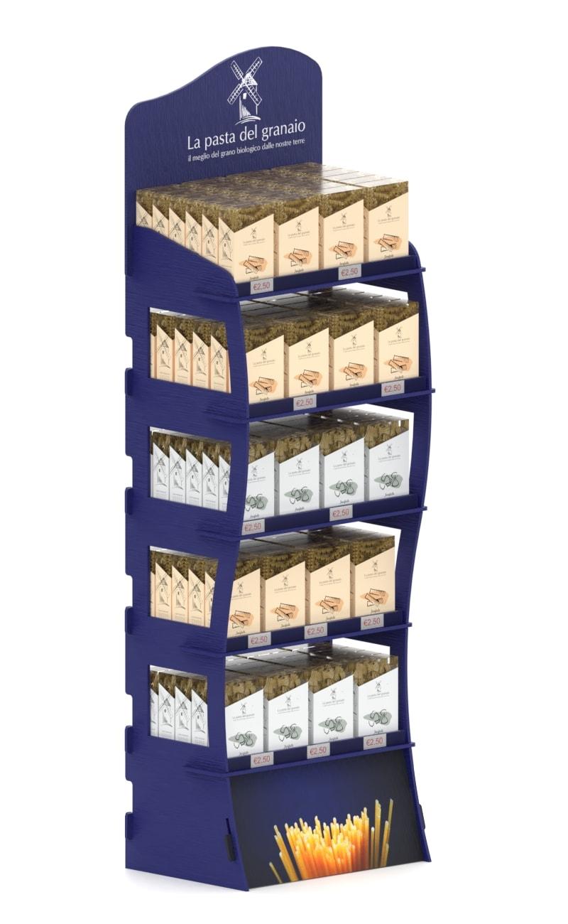 wooden blue stand display at interlocking