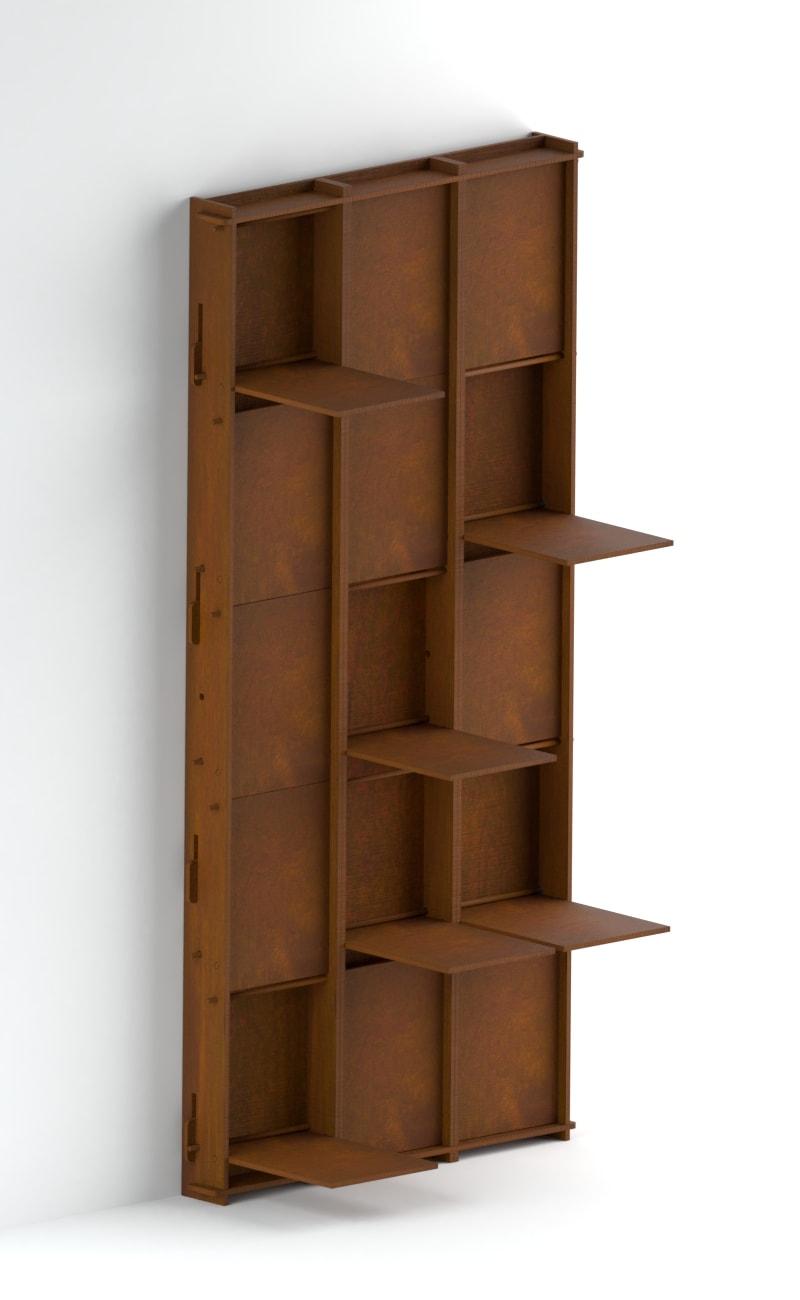 Libreria da parete alta con ripiani ad incastro a scomparsa ...