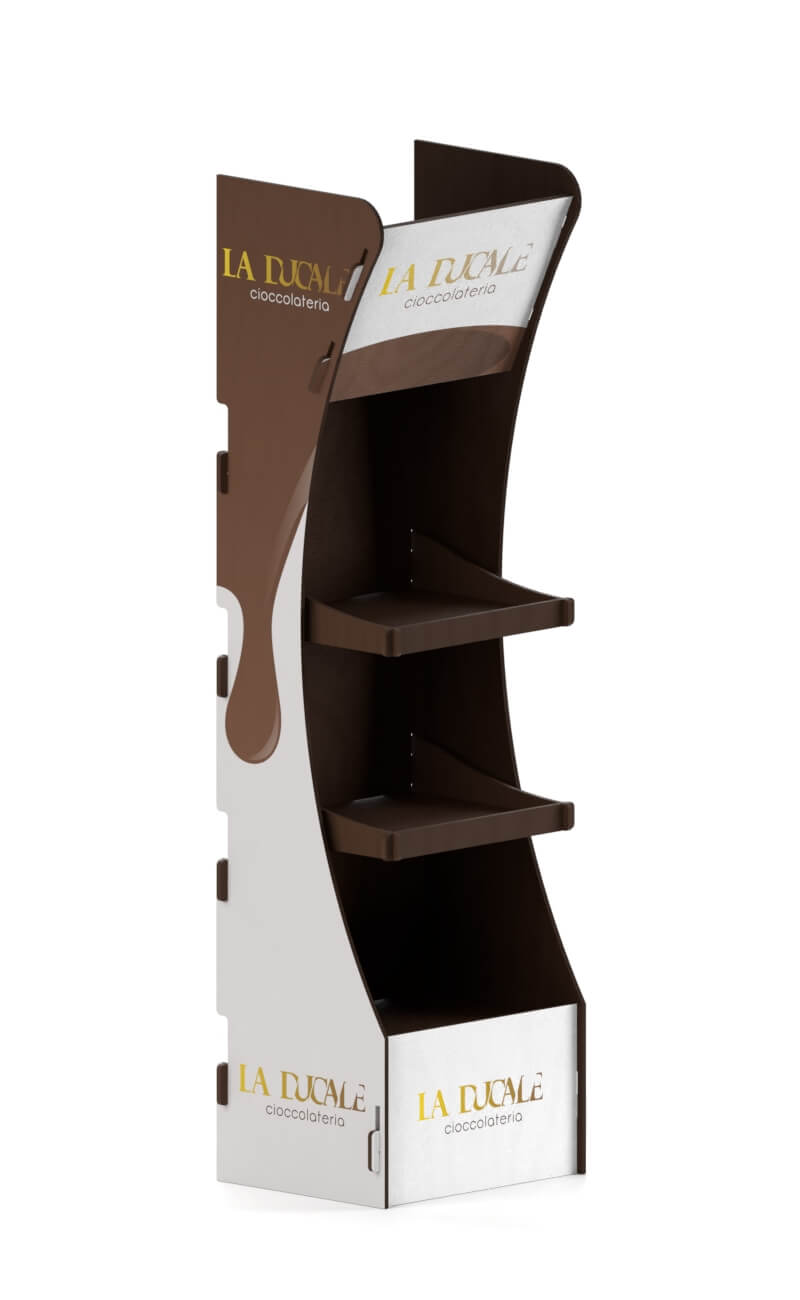 espositore ad incastro con stampa cioccolateria