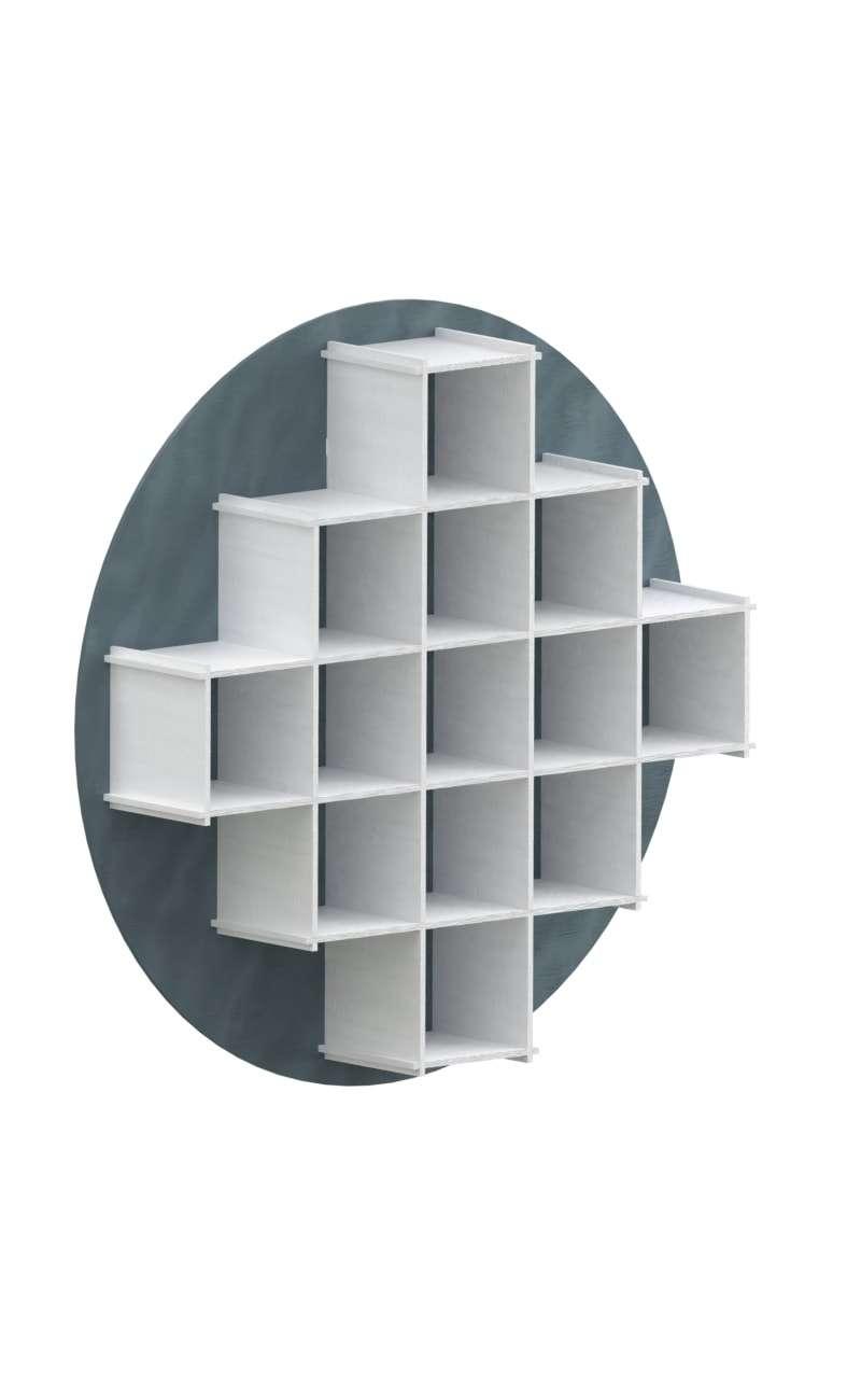 interlocking skyblue/white bookcase