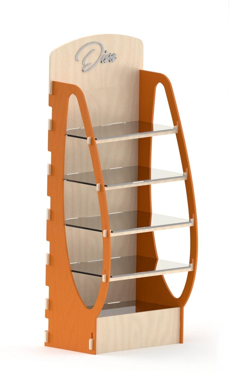 espositore legno e plex arancione