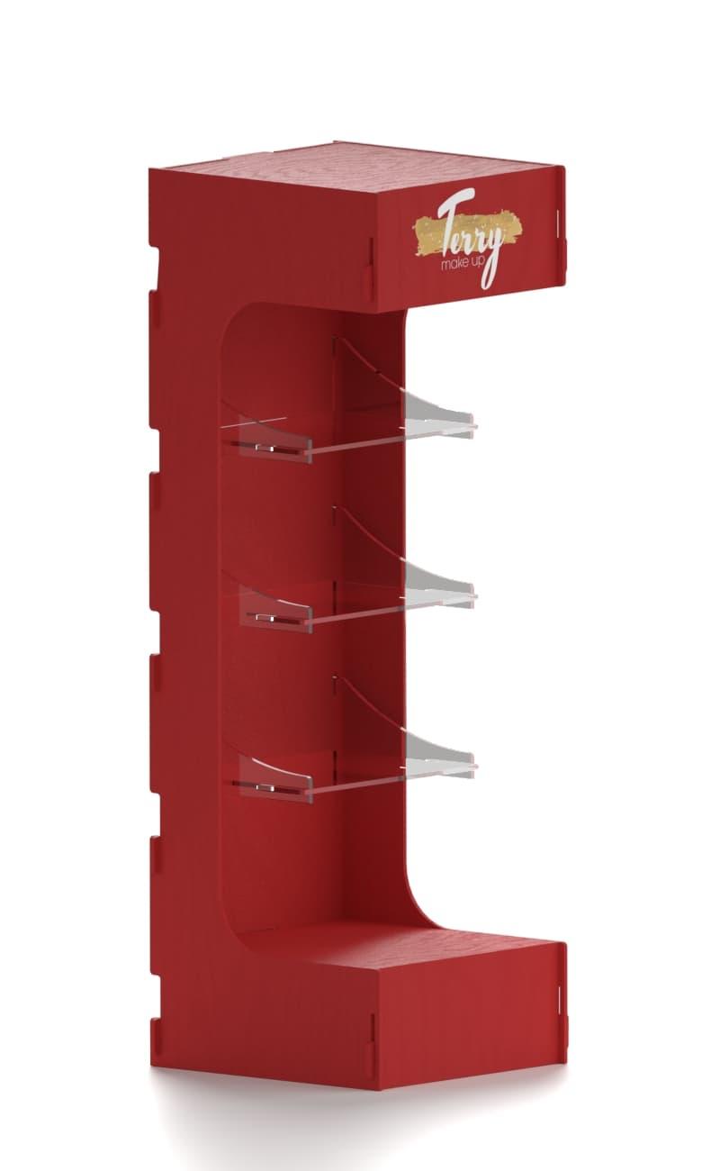 wooden shelf with plex shelves