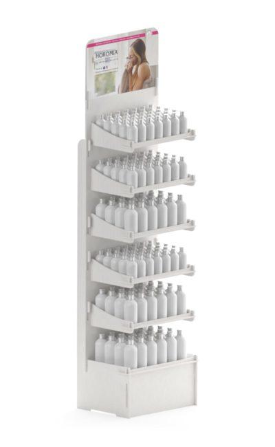 espositore bianco alto con sei ripiani