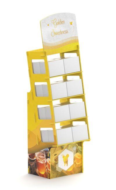 Mobile da negozi giallo con stampa