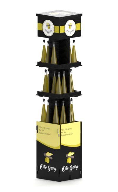 Espositore nero con tre ripiani e stampe.