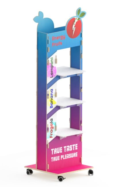Colorful promotional stand display with shaped top