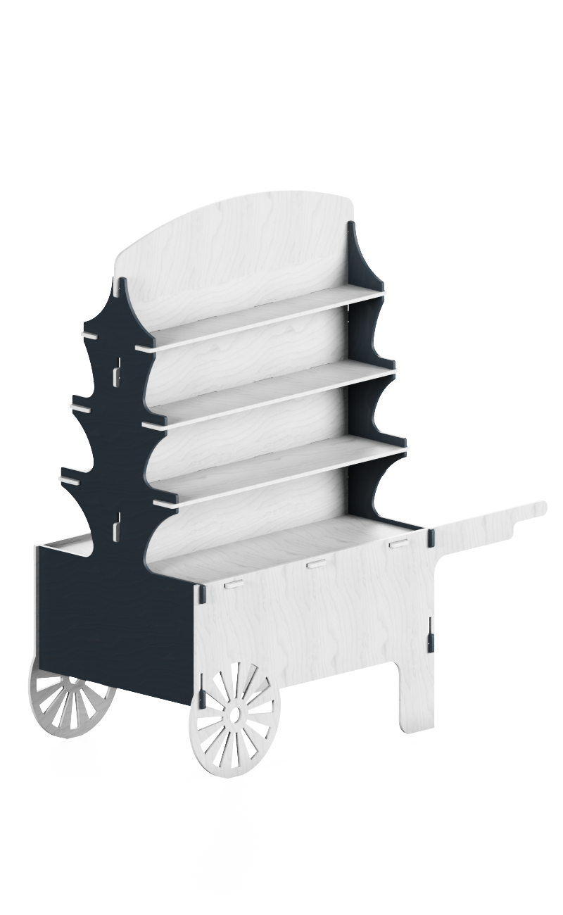 Handcart in wood with four front-rear shelves