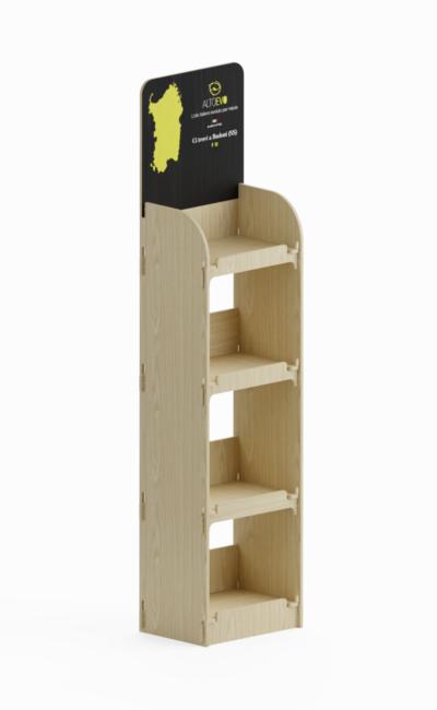 Mobile in legno per negozi con sistema ad incastro
